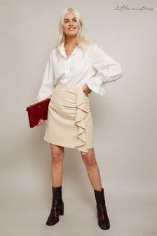 Little Mistress White Ivy Ivory Corduroy Mini Skirt With Ruching
