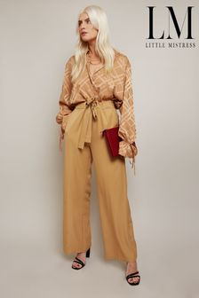 Little Mistress Brown Victoria Camel Tailored Wide Leg Trouser With Waist Tie Detail