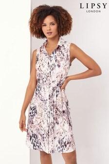 Lipsy Animal Sleeveless Shirt Dress