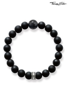Thomas Sabo Silver Black Obssidan Beaded Bracelet with Sterling Silver Detail