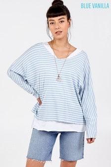 Blue Vanilla Blue 2 In 1 Stripes Oversized Top