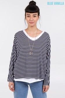 Blue Vanilla Navy 2 In 1 Stripes Oversized Top