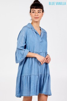 Blue Vanilla Blue Oversized Tiered Denim Tunic