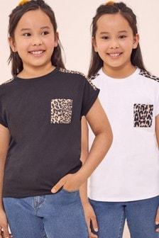 Lipsy Black And White Leopard Pocket 2 Pack T-Shirt
