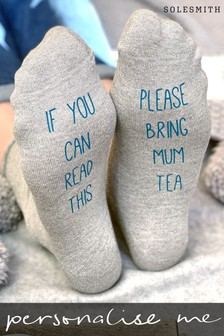 Personalised Bring Tea Glitter Socks by Solesmith