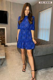 Girl In Mind Blue Esther Frill Sleeve Smock Mini Dress Blue Leopard