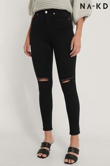 NA-KD Black Skinny High Waist Destroyed Jeans