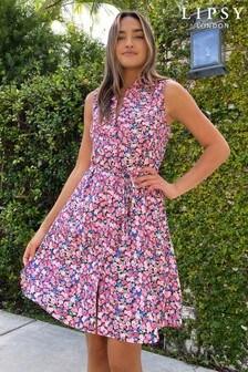 Ditsy Printed Sleeveless Shirt Dress