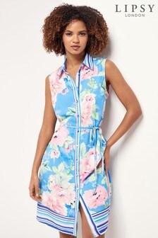 Blue Floral Printed Sleeveless Shirt Dress