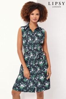 Lipsy Blue Printed Short Sleeve Shirt Dress