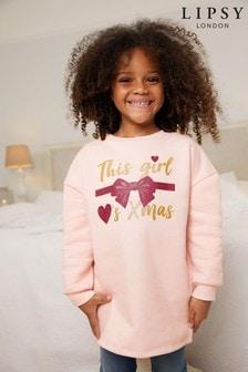 Lipsy Pink Mini Christmas Sweat Dress