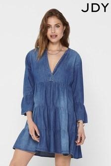 JDY Medium Blue Denim Tiered Smock Dress