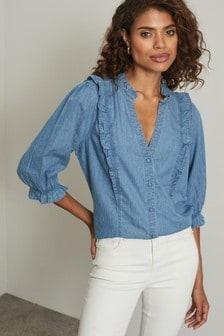 Lipsy Blue Ruffle Denim Shirt