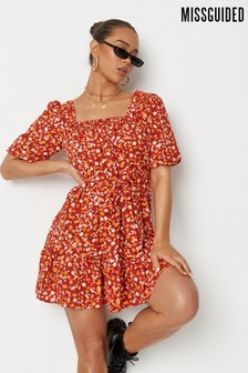 Missguided Red Ditsy Floral Smock Dress