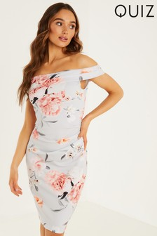 Quiz Grey Floral Print Bardot Midi Dress