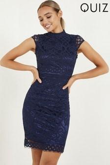 Quiz Blue Lace Turtle Neck Midi Dress