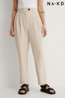 NA-KD Warm Beige Recycled Cropped Cigarette Trousers