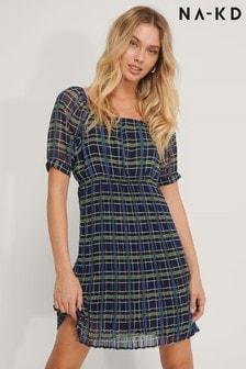 NA-KD Grey Blue Pleated Check Square Neck Dress