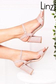 Linzi Rose Gold Glitter Open Back Barely There Block Heeled Sandal