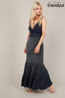 Trendyol Navy Stripe Light Knit Maxi Dress