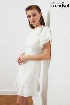Trendyol White Frill Sleeve Mini Dress