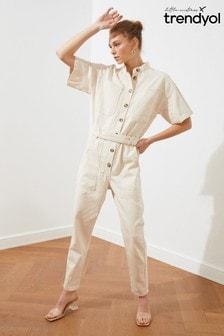 Trendyol White Button Down Utility Jumpsuit