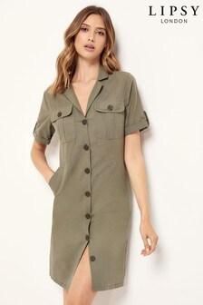 Lipsy Khaki Linen Blend Utility Short Sleeve Shirt Dress