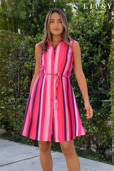 Pink Stripe Printed Sleeveless Shirt Dress