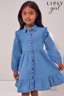 Lipsy Blue Mini Denim Frill Dress