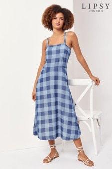 Lipsy Blue Check Check Tencel Midi Dress