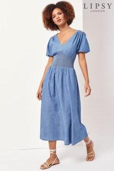 Lipsy Blue Lightweight Denim Midi Dress