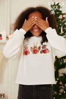 Lipsy Ivory Robin Christmas Sweat Top