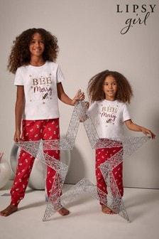 Lipsy White Christmas Short Sleeve Pyjama Set