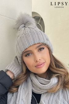 Lipsy Grey Cosy Cable Knit Pom Hat