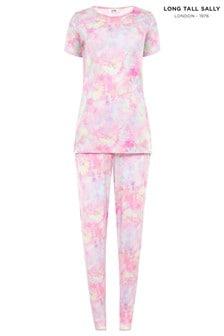 Long Tall Sally Pink Tie Dye Short Sleeve Lounge Set