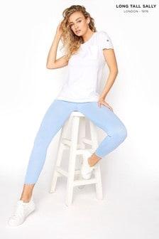 Long Tall Sally Blue Crop Jersey Leggings