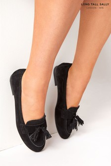 Long Tall Sally Black Suede Tassle Loafer