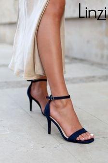 Linzi Navy Kimmy Open Back Barely There Stiletto Sandal