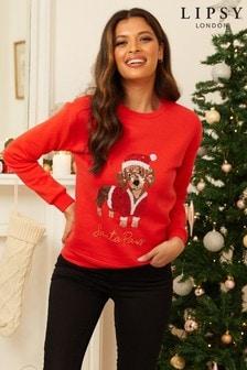 Lipsy Red Sausage Dog Christmas Sweatshirt