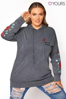 Yours Black Print Sleeve Sweatshirt