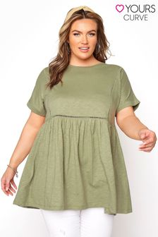 Yours Green Ladder Lace Peplum Tee