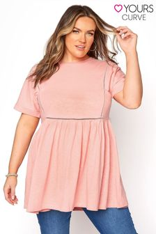 Yours Pink Ladder Lace Peplum Tee