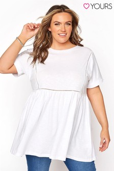 Yours White Ladder Lace Peplum Tee