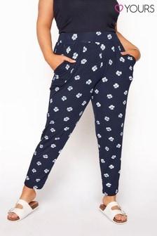 Yours Blue Double Pleat Harem Trousers