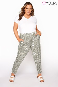 Yours Green Double Pleat Harem Trousers