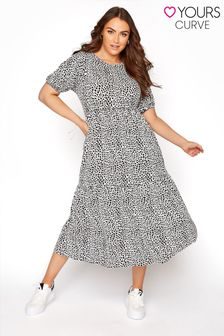 Yours White Short Puff Sleeve Midaxi Spot Dress
