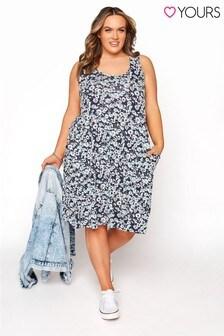 Yours Blue Sleeveless Stripe Drape Pocket Dress