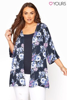 Yours Blue Crochet Back Floral Cover Up