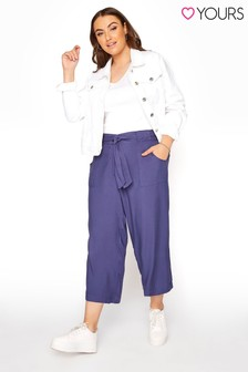 Yours Blue Twill Belted Crop Trouser