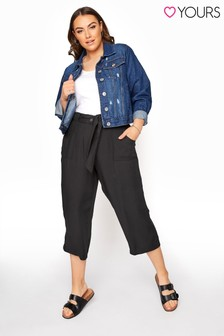Yours Black Twill Belted Crop Trousers